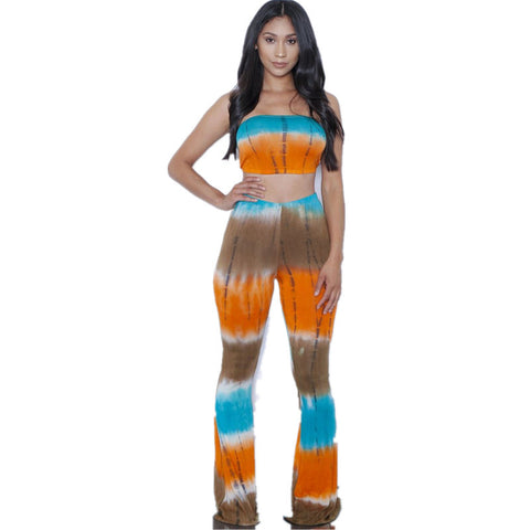 European And American Style Tie Dye Flared Trousers Waist Wide Leg Lon-iuly.com
