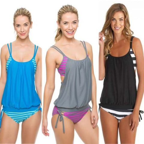 Swimwear Women Stripes Lined Up Double Up Tankini Top Bathing Suit Swi-iuly.com