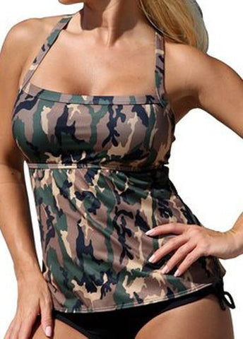 Women Swimwear Two Piece Suits Army Green Camouflage Tankini Swimsuit-iuly.com