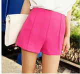 Candy Colors Summer Shorts Women Waist Zip Up Solid Shorts Smooth Mate-iuly.com
