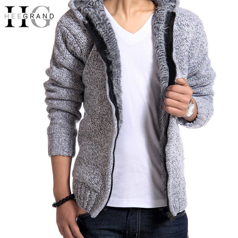 Autunm Winter Fur Lining Thicken Hoodies Men Casual Zipper Solid Warm Moleton-iuly.com