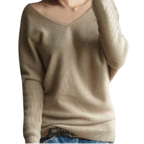 Women Autumn Winter Pullovers And Sweaters V-Neck Batwing Sleeve Loose-iuly.com