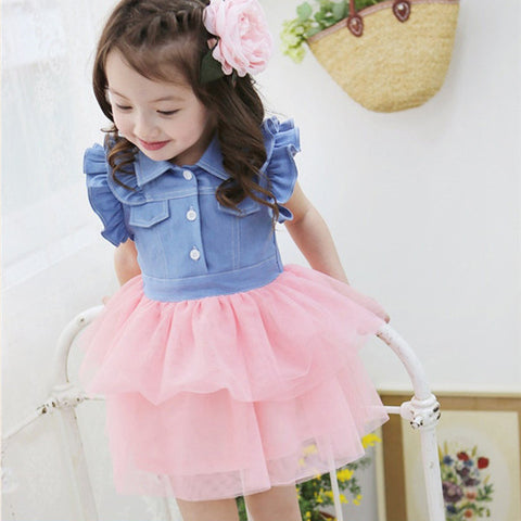 Cute Kids One Piece Dress Girls Ruffled Denim Gauze Tutu Clothes For 2-7Y 2-iuly.com