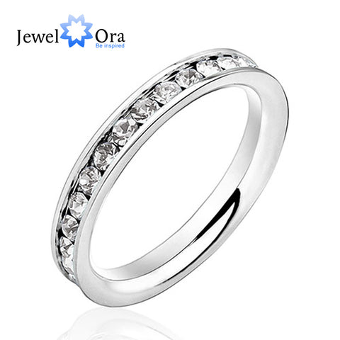 Stainless Steel Crystal Lovers Ring Crystal Jewelry Female Pinky Ring Finger-iuly.com