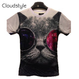 Cloudstyle 19 Patterns S-3Xl 3D T Shirt Men Funny Cat With Sunglasses Short-iuly.com