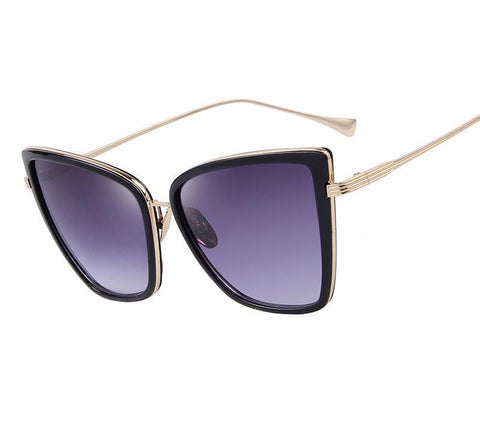 Women Sunglasses Cat Mirror Glasses Metal Cat Eye Sunglasses Women Square S-iuly.com
