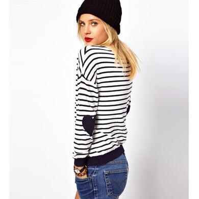 Love Hearts Patch Striped Knitwear Pullover Ladies Sweater Dress-iuly.com