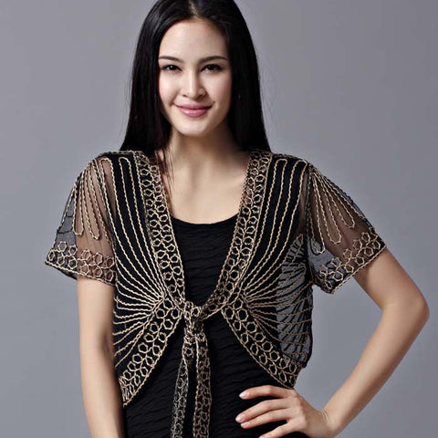 All-Match Short-Sleeve Handmade Crochet Lacing Women'S Shrug Small Cap-iuly.com