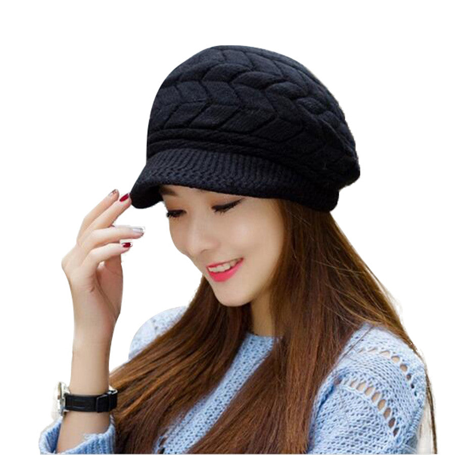 9e32e189621 Elegant Womens Winter Rabbit Fur Hat Female Fall Knitted Hats For ...
