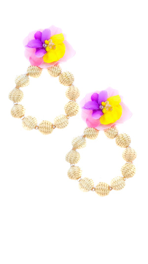 Straw Hoops With Flower