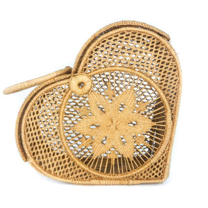 LUXCHILAS Straw Bag - Heart Tan
