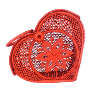 LUXCHILAS Straw Bags - Heart Red