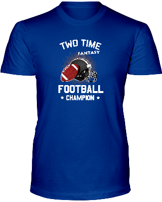 """TWO TIME FANTASY FOOTBALL CHAMP""  T-SHIRT - Average Joes Fantasy Football Apparel"
