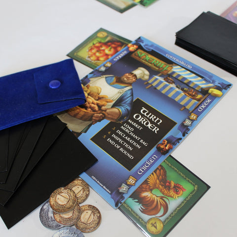 Sheriff of Nottingham board game components on a table
