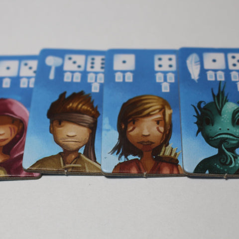 "Cardboard tiles with images of various adventurer characters. ""view"""
