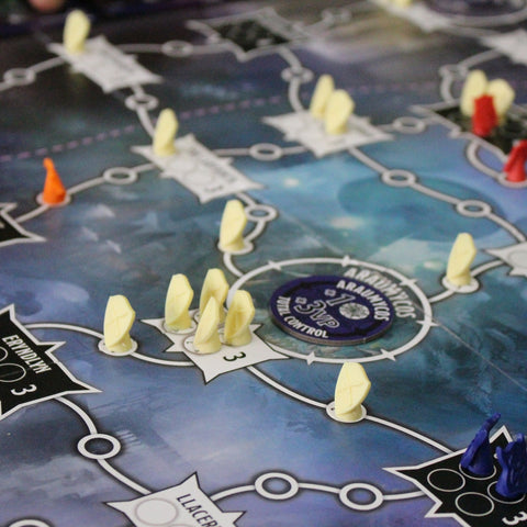 "board game with strategic tokens holding positions in key locations of Dungeons and Dragons' ""The Underdark"". ""view"""