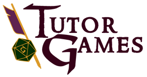 Tutor Games logo with die and quill