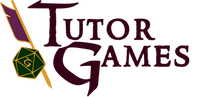 Tutor Games: purple feathered yellow quill behind a green dice to left