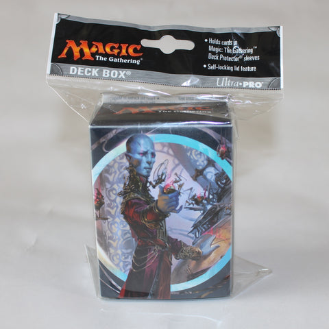 Magic the gathering card game 60 card deck box. featuring blue mage image and with white background