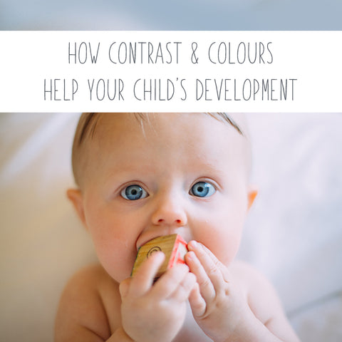 "Picture of a baby with text ""How contrast and colours help your child's development"""