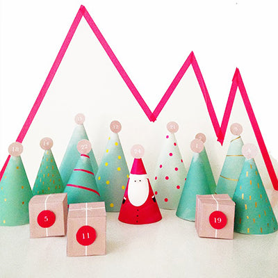 Printable DIY advent calendar with santa and trees