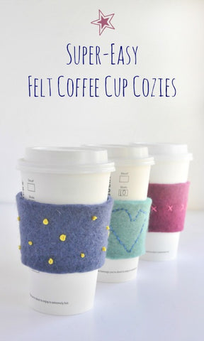 3 Felt coffee cup cozies on coffee cups