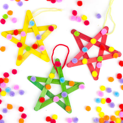 Pom pom star ornament