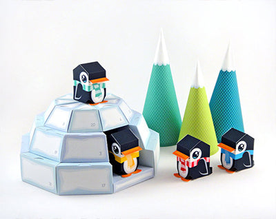Igloo and pinguins advent calendar paper craft