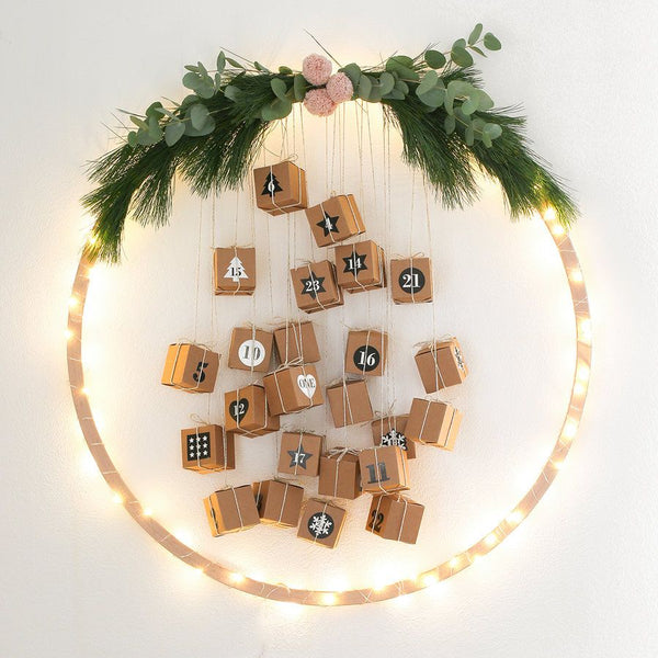 hoop and boxes DIY advent calendar