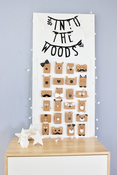 woodland paper animals for an advent calendar