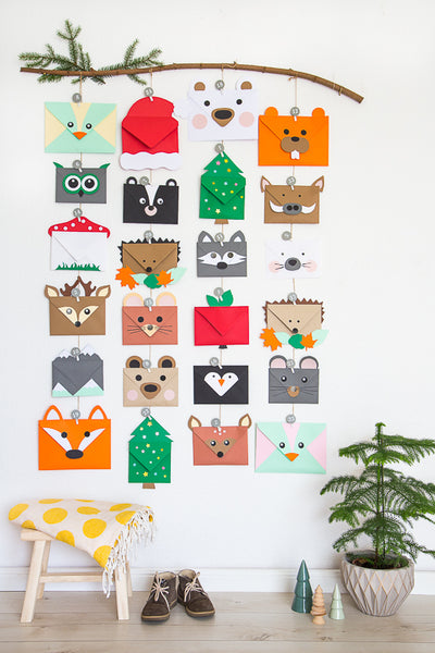 envelope made woodland creature advent calendar