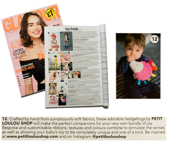 Glamour January 2016 featuring Petit loulou stuffed hedgehog