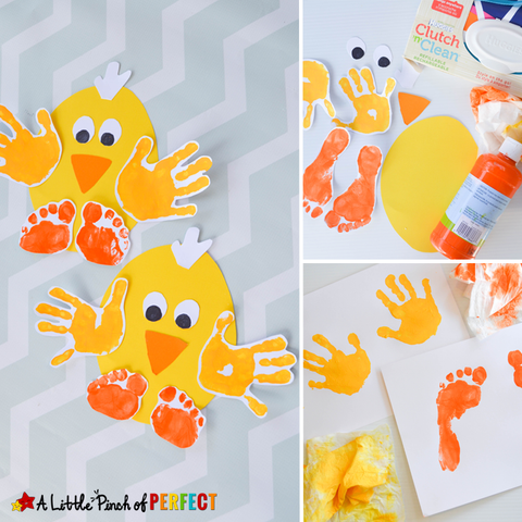 Hand print chick for easter