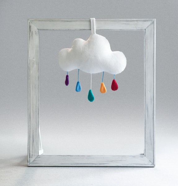 musical plush cloud with rainbow drops