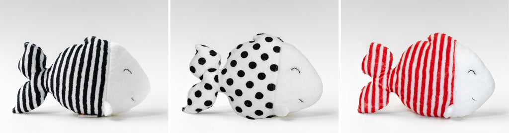 High contrast plush toy, stripe fishe