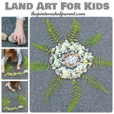 Sidewalk Land art with ferns