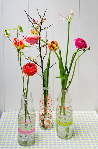 Flower vase with stickers and washi tape