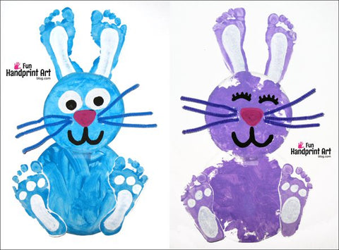 Hand and foot print to make bunnies