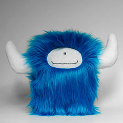 Big blue plushie monster with horne and a big smile
