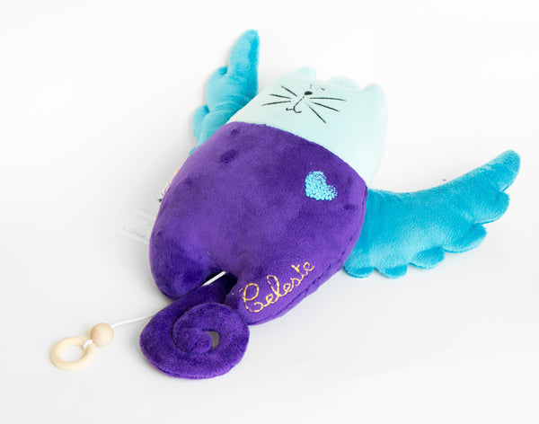 Musical purple and light blue Stuffed cat
