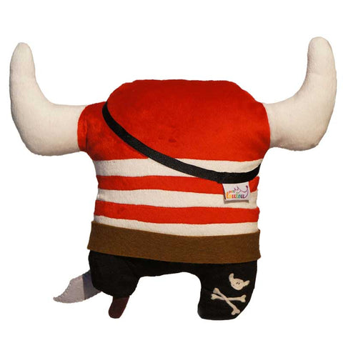 Custom made stuffed pirate with red and white stripes, back view