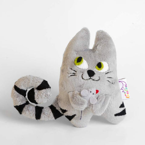 Handmade plush cat with a little mouse