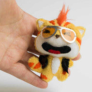 Custom made plushie of a cat with leather jacket and sun glasses