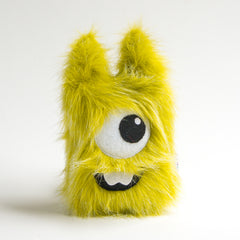 Green plush cyclops monster with two teeth