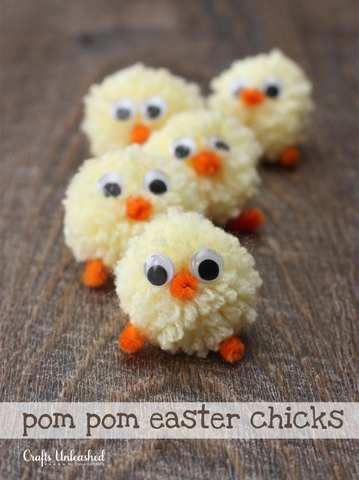 Pompom easter chick craft