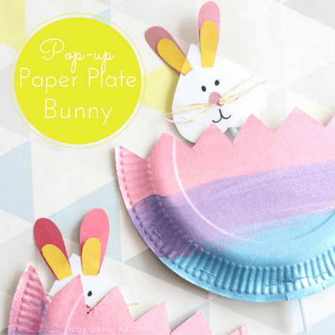 DIY easter bunny and paper plate cut as an egg