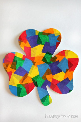 tissue paper glue together to make a shamrock