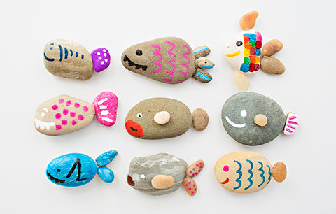Rock painted fishes