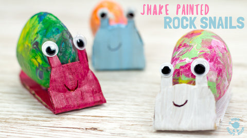 3 rock painted and card board snails