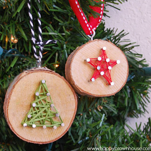 Wood slice string art ornament star and christmas tree